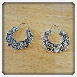 Jewelry - NWOT Large Gypsy Bohemian Silver Boho Hoops